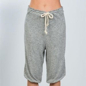 Pants - Ladies grey drawstring waist loose capris pants